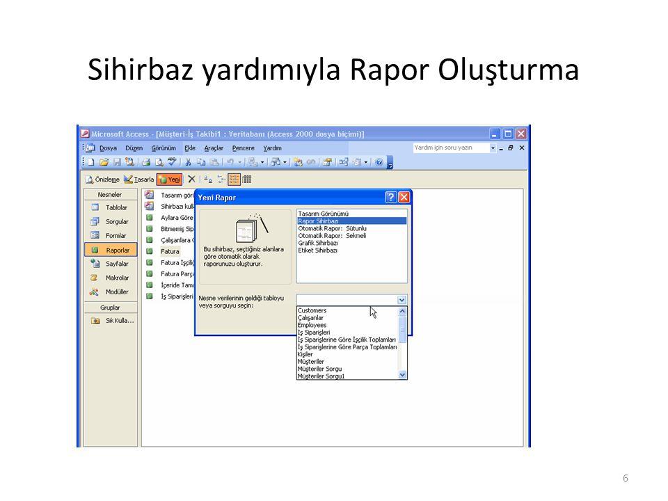 17 Sihirbaz yardımıyla Rapor Oluşturma Otomatik Rapor: Sütunlu