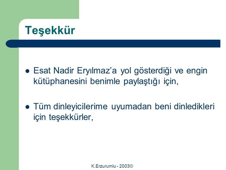 K.Erzurumlu - 2003© Teşekkür Esat Nadir Eryılmaz'a yol gösterdiği ve engin kütüphanesini benimle paylaştığı için, Tüm dinleyicilerime uyumadan beni dinledikleri için teşekkürler,