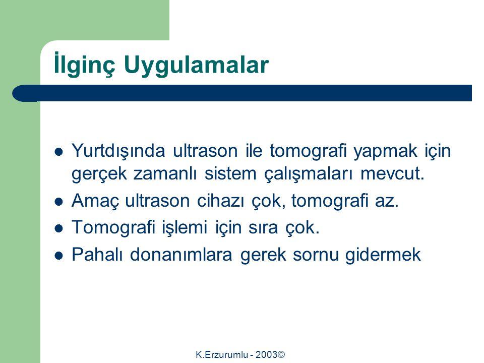 K.Erzurumlu - 2003© İlginç Uygulamalar Yurtdışında ultrason ile tomografi yapmak için gerçek zamanlı sistem çalışmaları mevcut.