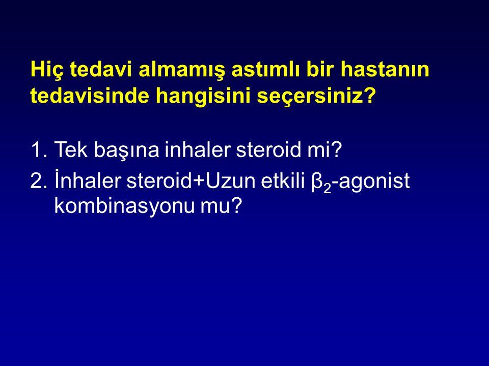 1. Tek başına inhaler steroid mi? 2. İnhaler steroid+Uzun etkili β 2 -agonist kombinasyonu mu? Hiç tedavi almamış astımlı bir hastanın tedavisinde han