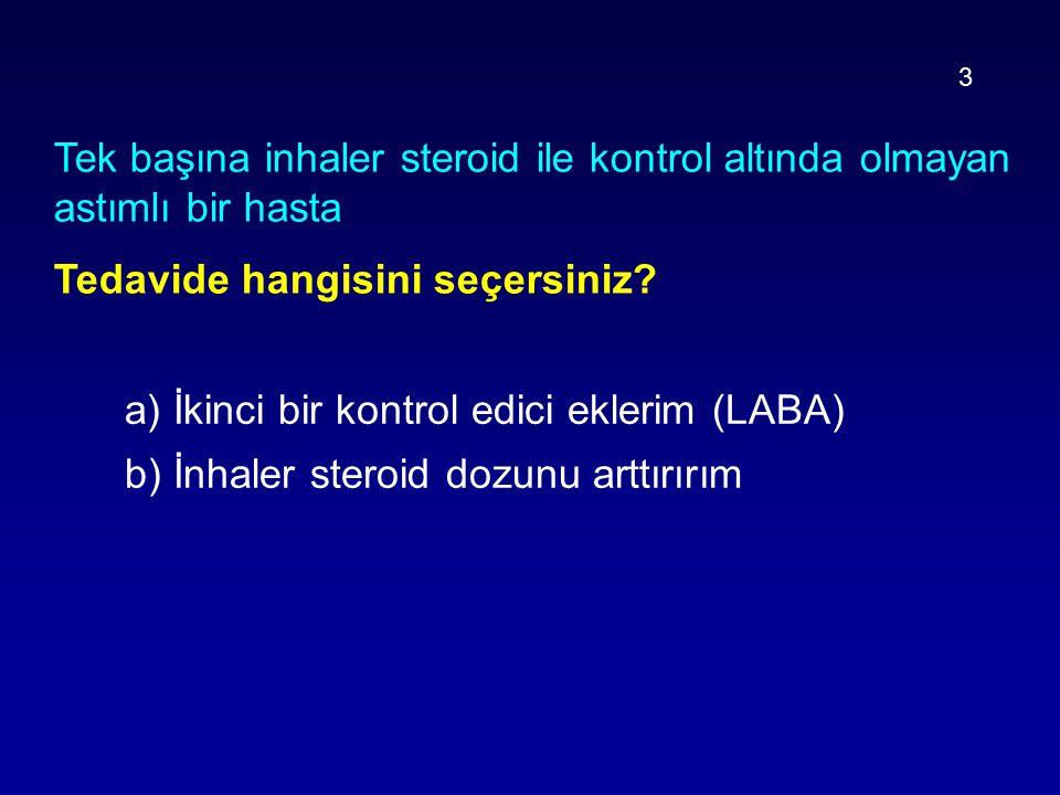 Tek başına inhaler steroid ile kontrol altında olmayan astımlı bir hasta Tedavide hangisini seçersiniz? a) İkinci bir kontrol edici eklerim (LABA) b)