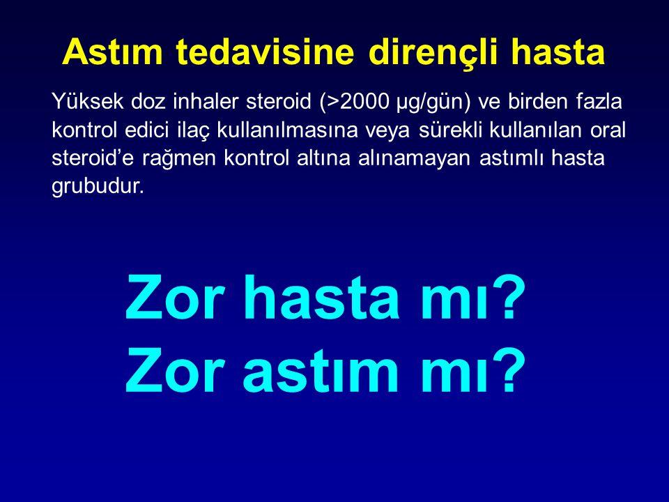 Astım tedavisine dirençli hasta Yüksek doz inhaler steroid (>2000 µg/gün) ve birden fazla kontrol edici ilaç kullanılmasına veya sürekli kullanılan or