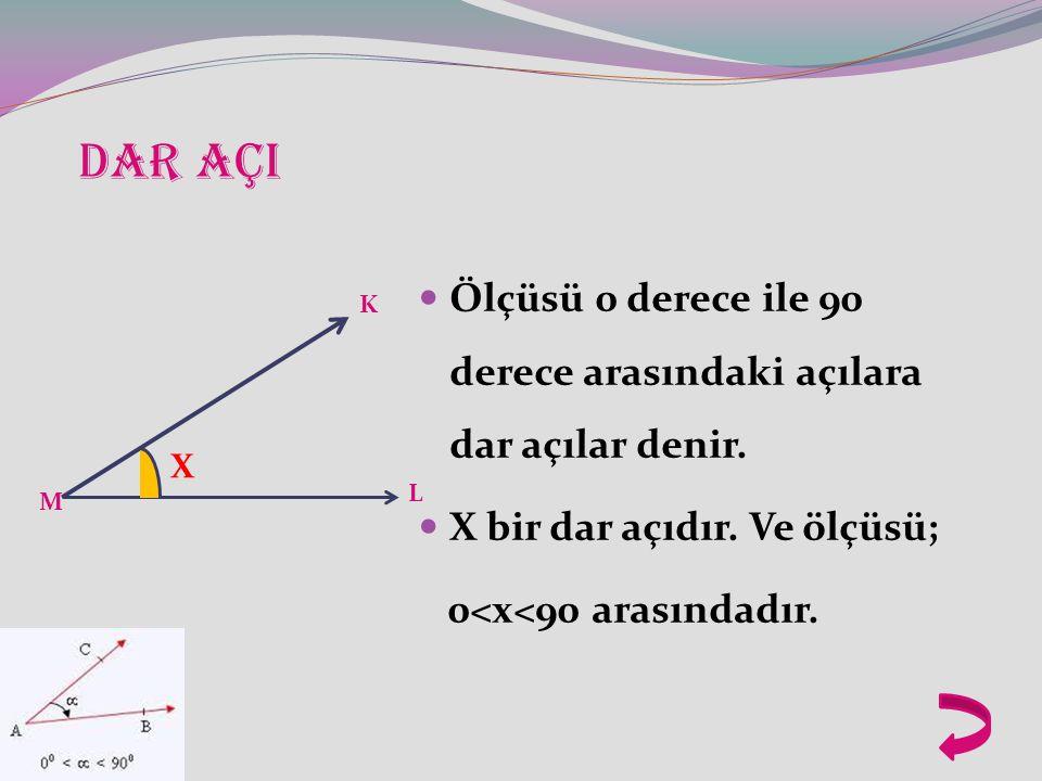 DAR AÇI Ölçüsü 0 derece ile 90 derece arasındaki açılara dar açılar denir.
