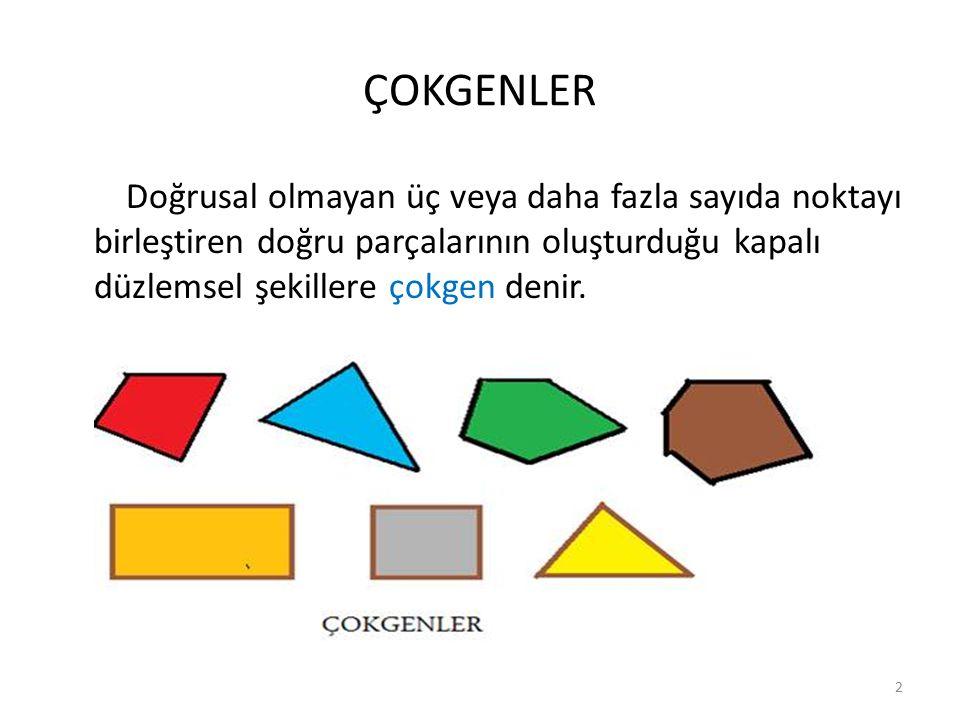 ÇOKGENLER Doğrusal olmayan üç veya daha fazla sayıda noktayı birleştiren doğru parçalarının oluşturduğu kapalı düzlemsel şekillere çokgen denir.
