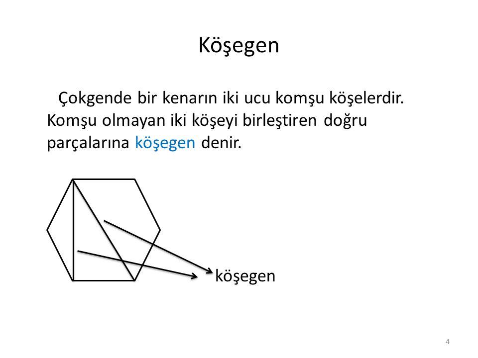Köşegen Bir köşeden çizilen köşegen sayısı n-3 tanedir.