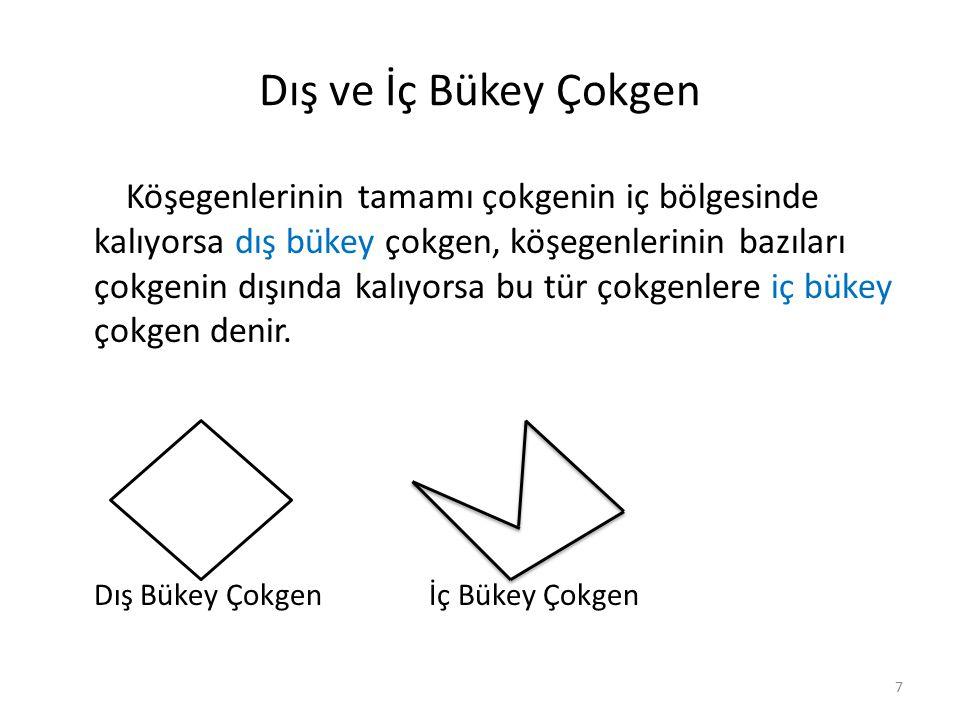Çokgende Açılar Bir çokgenin bir köşesinden çizilebilecek köşegenler çokgeni (n-2) sayıda üçgene dönüştürür.