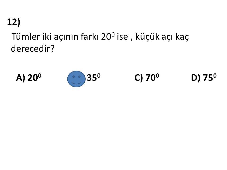 13) A) A B) B C) C D) D Aşağıda verilen noktalardan hangisi KLM açısının farklı bölgesindedir ?