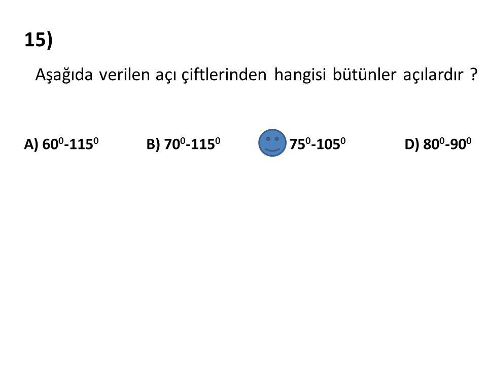 16) Ölçüsü 70 0 olan açının tümleri ile bütünlerinin ölçüleri toplamı kaç derecedir .