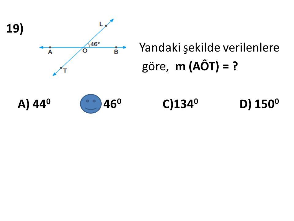 20) Yandaki şekilde verilenlere göre, m (DÔE) = ? A) 43 0 B) 47 0 C) 127 0 D) 133 0