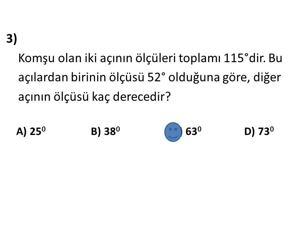 4) Yandaki açılar komşu tümler açılardır.Şekilde verilenlere göre, m (AÔB)=.