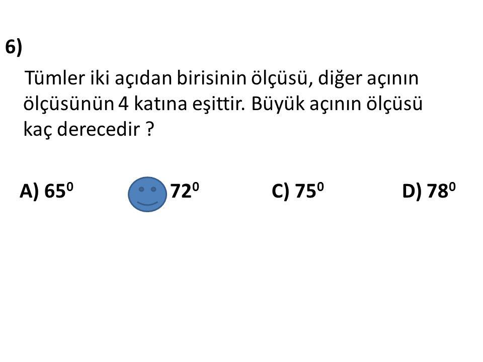7) Yandaki açılar komşu bütünler açılardır.Şekilde verilenlere göre, m (MÔP) = .