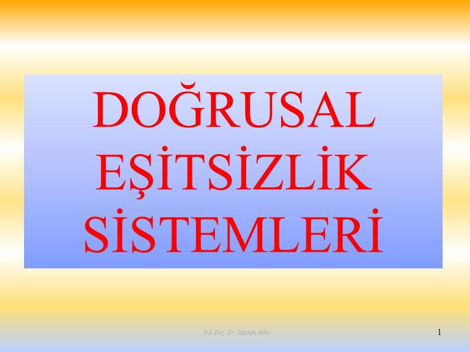 DOĞRUSAL EŞİTSİZLİK SİSTEMLERİ 1 Yrd. Doç. Dr. Mustafa Akkol