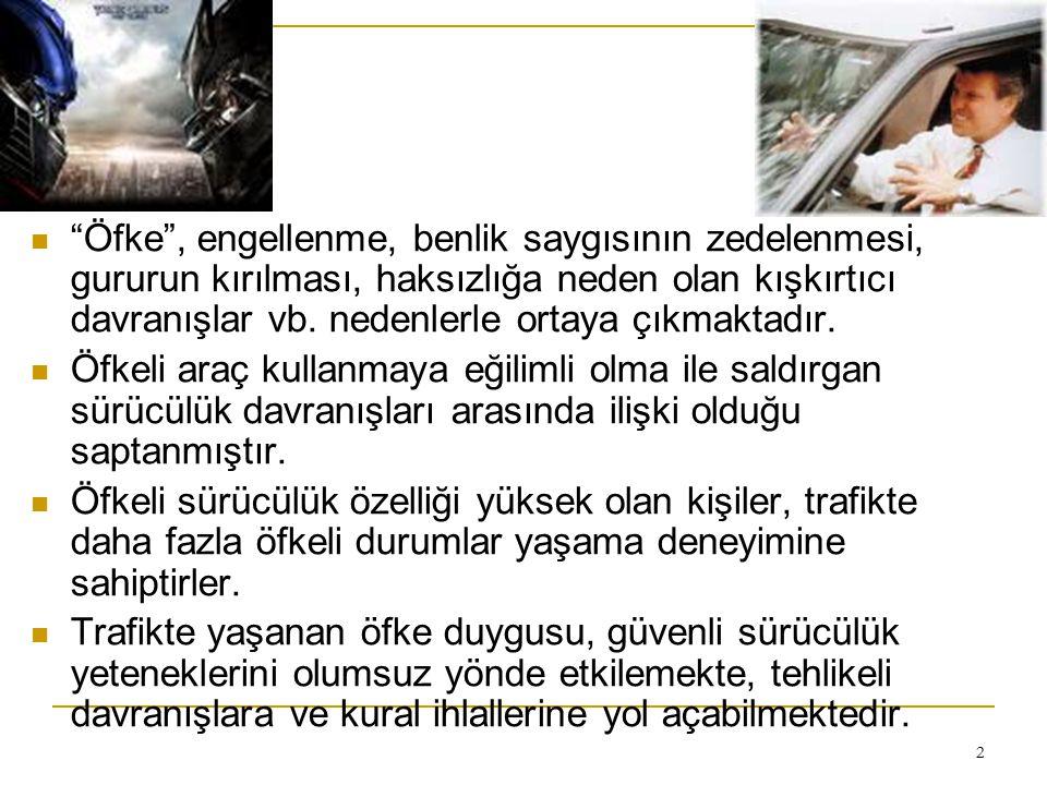 13 Türk sürücüsü öfkelenince ne yapıyor.20-65 yaş arası 220 sürücü.