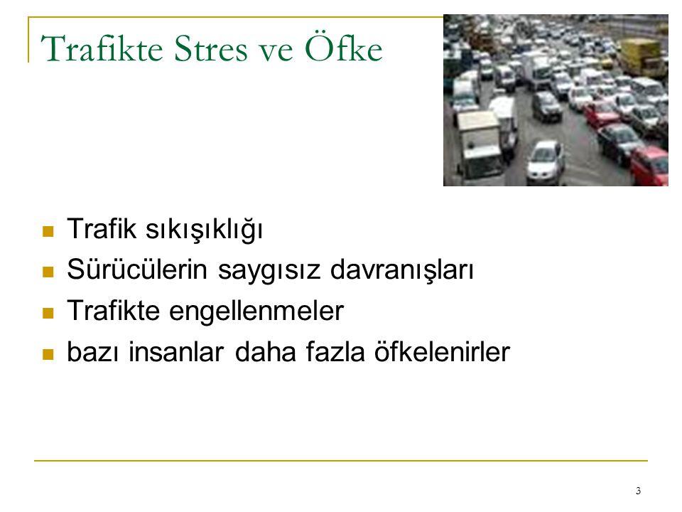 3 Trafikte Stres ve Öfke Trafik sıkışıklığı Sürücülerin saygısız davranışları Trafikte engellenmeler bazı insanlar daha fazla öfkelenirler