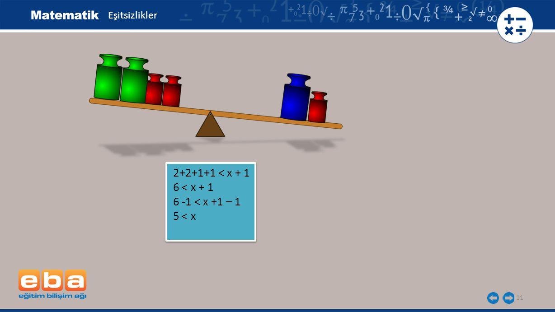11 2+2+1+1 < x + 1 6 < x + 1 6 -1 < x +1 – 1 5 < x 2+2+1+1 < x + 1 6 < x + 1 6 -1 < x +1 – 1 5 < x Eşitsizlikler