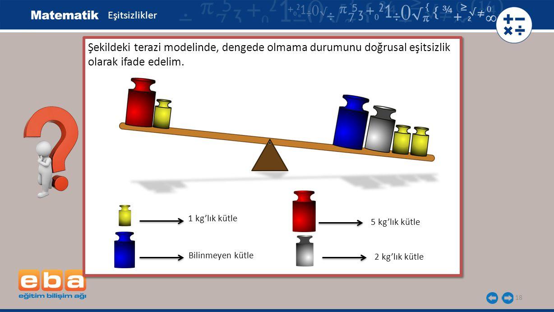 18 Şekildeki terazi modelinde, dengede olmama durumunu doğrusal eşitsizlik olarak ifade edelim. 1 kg'lık kütle Bilinmeyen kütle 5 kg'lık kütle 2 kg'lı