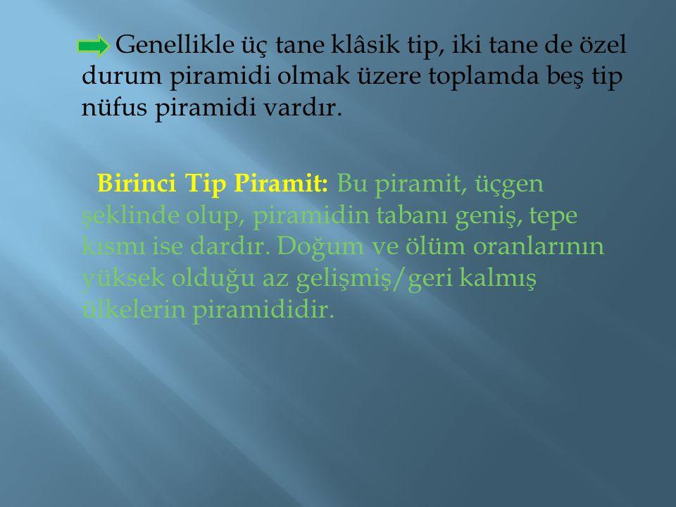 Genellikle üç tane klâsik tip, iki tane de özel durum piramidi olmak üzere toplamda beş tip nüfus piramidi vardır. Birinci Tip Piramit: Bu piramit, üç