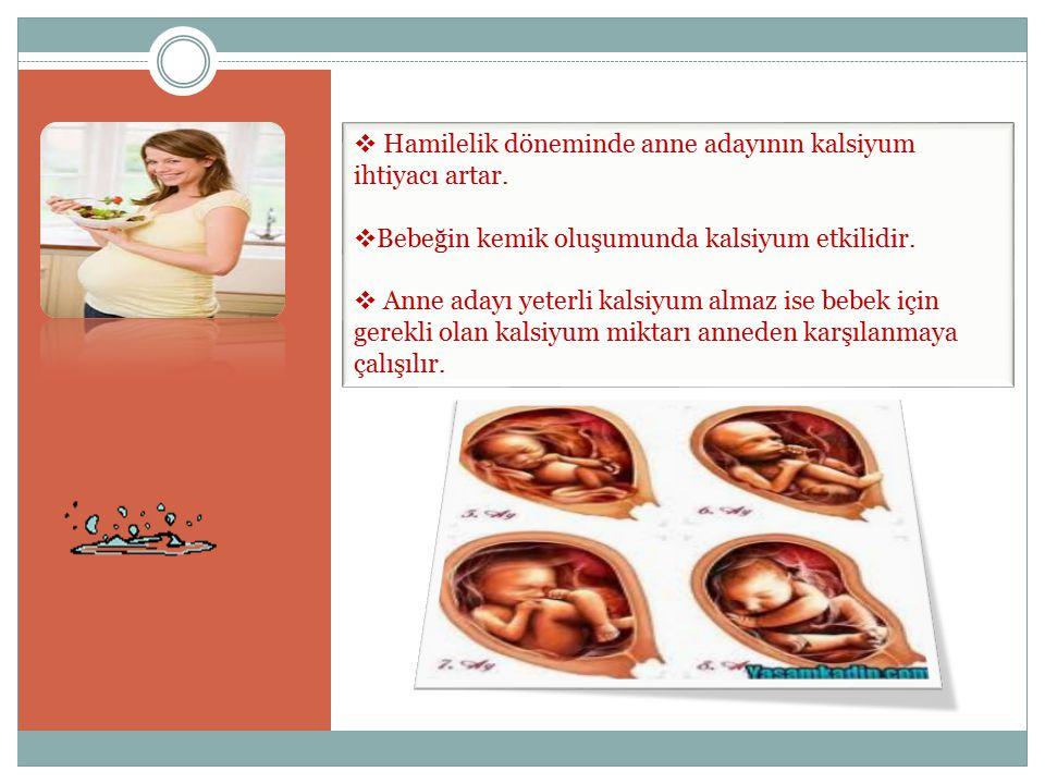  Hamilelik döneminde anne adayının kalsiyum ihtiyacı artar.  Bebeğin kemik oluşumunda kalsiyum etkilidir.  Anne adayı yeterli kalsiyum almaz ise be