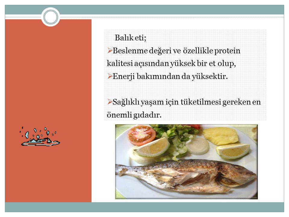 Balık eti;  Beslenme değeri ve özellikle protein kalitesi açısından yüksek bir et olup,  Enerji bakımından da yüksektir.  Sağlıklı yaşam için tüket