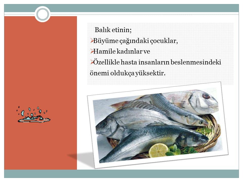 Balık etinin;  Büyüme çağındaki çocuklar,  Hamile kadınlar ve  Özellikle hasta insanların beslenmesindeki önemi oldukça yüksektir.