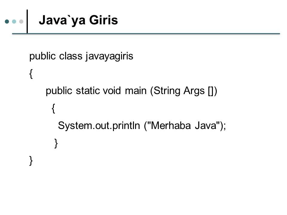 Java`ya Giris public class javayagiris { public static void main (String Args []) { System.out.println ( Merhaba Java ); }