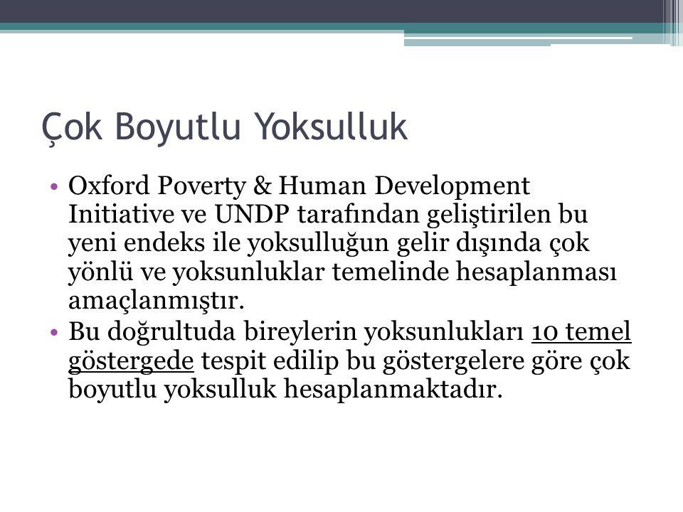 Çok Boyutlu Yoksulluk Oxford Poverty & Human Development Initiative ve UNDP tarafından geliştirilen bu yeni endeks ile yoksulluğun gelir dışında çok y