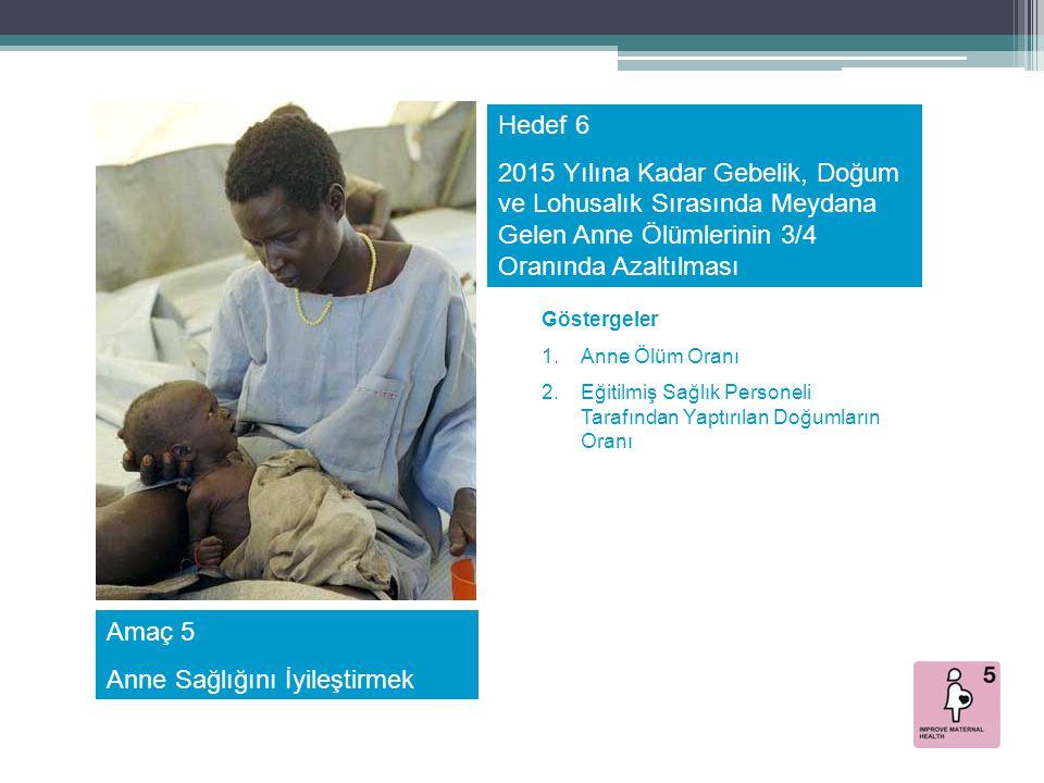 Amaç 5 Anne Sağlığını İyileştirmek Hedef 6 2015 Yılına Kadar Gebelik, Doğum ve Lohusalık Sırasında Meydana Gelen Anne Ölümlerinin 3/4 Oranında Azaltıl