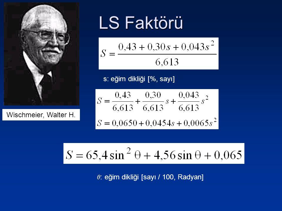 LS Faktörü Birimsiz olarak eğim uzunluğu faktörü (L) aşağıdaki Eşitlik ile hesaplanır: l: eğim uzunluğu (metre) m = 0,3; s  %3 m = 0,4; s = %4 m= 0,5; s  %5