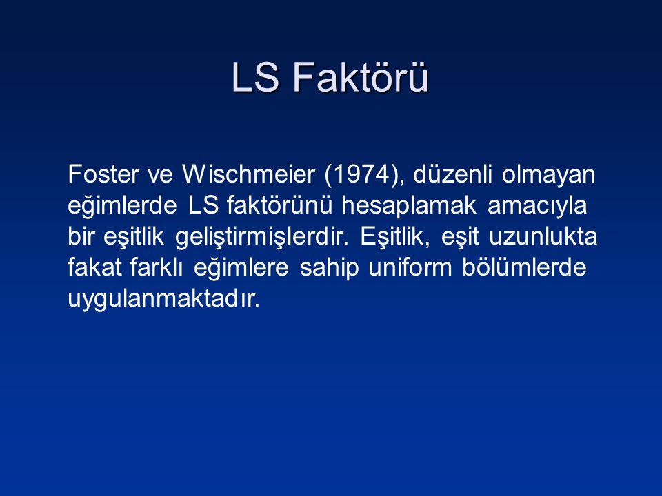 LS Faktörü Foster ve Wischmeier (1974), düzenli olmayan eğimlerde LS faktörünü hesaplamak amacıyla bir eşitlik geliştirmişlerdir. Eşitlik, eşit uzunlu