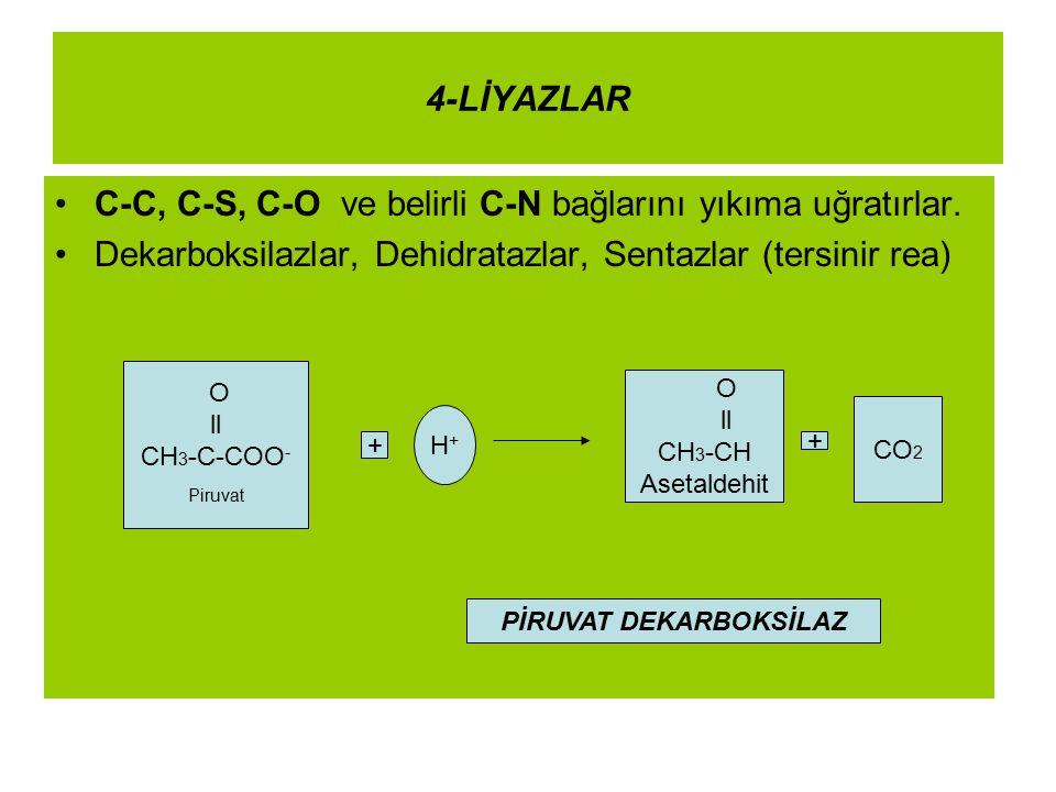 4-LİYAZLAR C-C, C-S, C-O ve belirli C-N bağlarını yıkıma uğratırlar. Dekarboksilazlar, Dehidratazlar, Sentazlar (tersinir rea) O ll CH 3 -C-COO - Piru