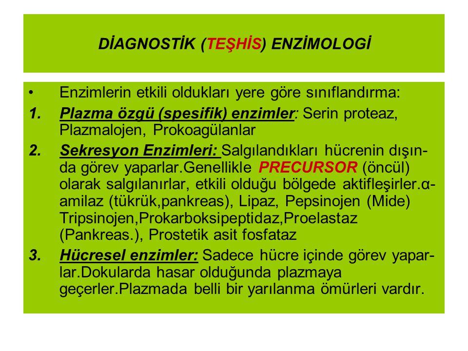 DİAGNOSTİK (TEŞHİS) ENZİMOLOGİ Enzimlerin etkili oldukları yere göre sınıflandırma: 1.Plazma özgü (spesifik) enzimler: Serin proteaz, Plazmalojen, Pro