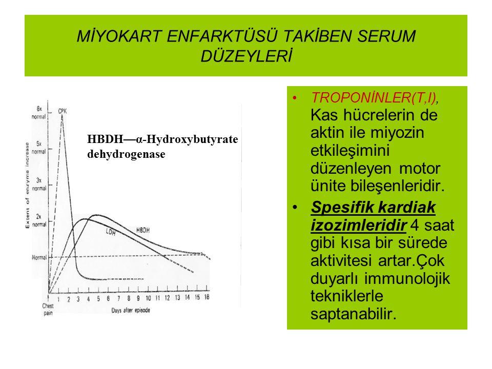 MİYOKART ENFARKTÜSÜ TAKİBEN SERUM DÜZEYLERİ HBDH—α-Hydroxybutyrate dehydrogenase TROPONİNLER(T,I), Kas hücrelerin de aktin ile miyozin etkileşimini dü