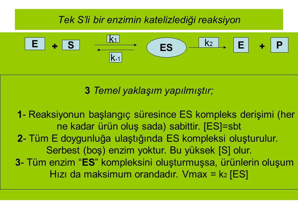 Tek S'li bir enzimin katelizlediği reaksiyon E + S k1k1 ES k -1 k2k2 E + P 3 Temel yaklaşım yapılmıştır; 1- Reaksiyonun başlangıç süresince ES komplek