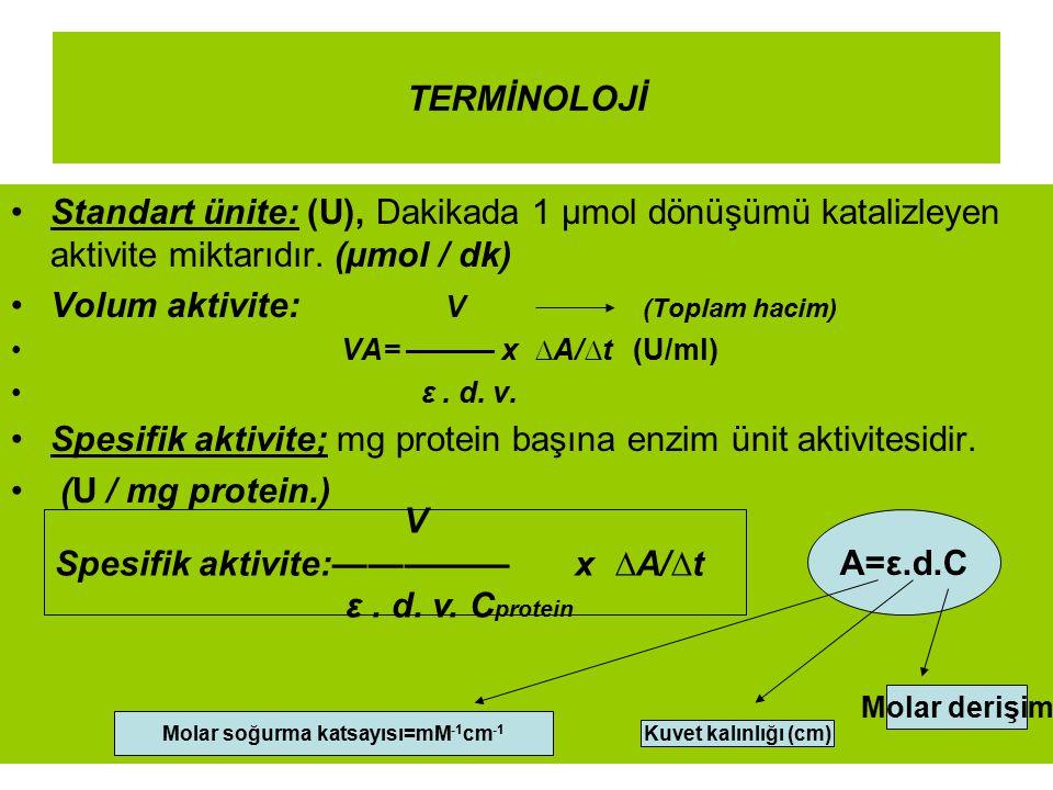 TERMİNOLOJİ Standart ünite: (U), Dakikada 1 µmol dönüşümü katalizleyen aktivite miktarıdır. (µmol / dk) Volum aktivite: V (Toplam hacim) VA= ——— x ∆A/