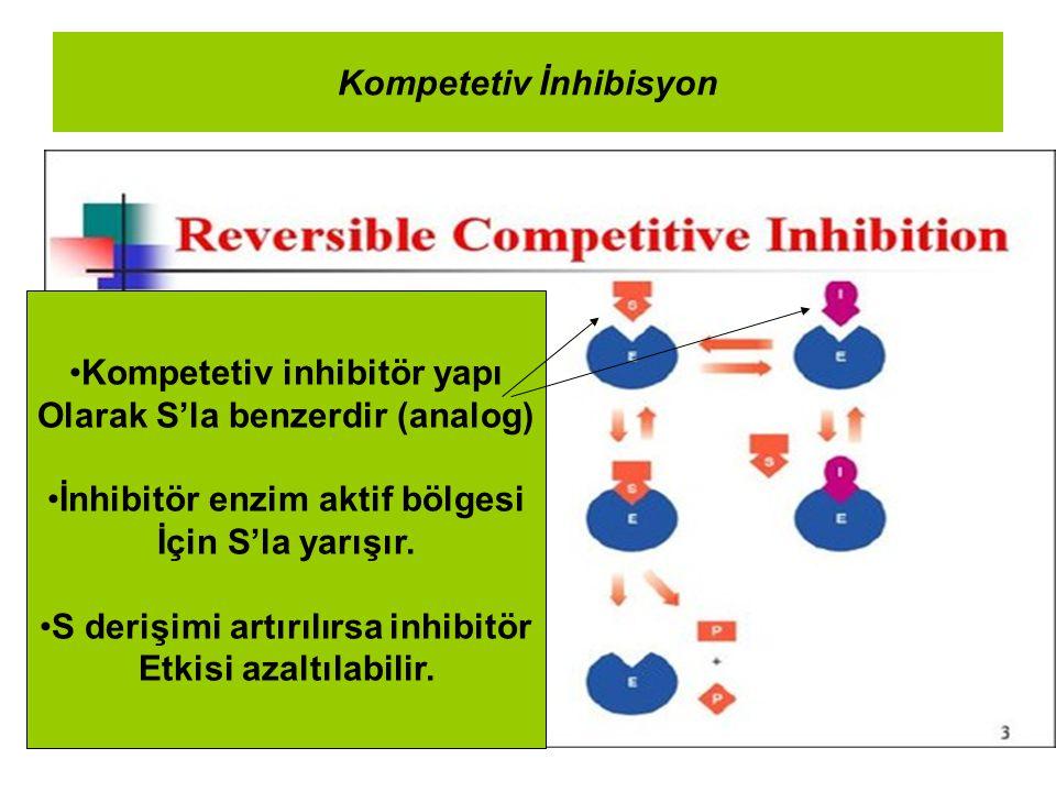Kompetetiv İnhibisyon Kompetetiv inhibitör yapı Olarak S'la benzerdir (analog) İnhibitör enzim aktif bölgesi İçin S'la yarışır. S derişimi artırılırsa