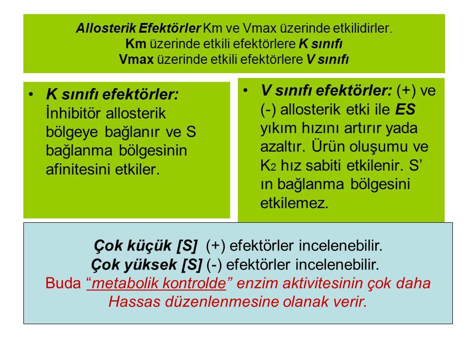 Allosterik Efektörler Km ve Vmax üzerinde etkilidirler. Km üzerinde etkili efektörlere K sınıfı Vmax üzerinde etkili efektörlere V sınıfı K sınıfı efe
