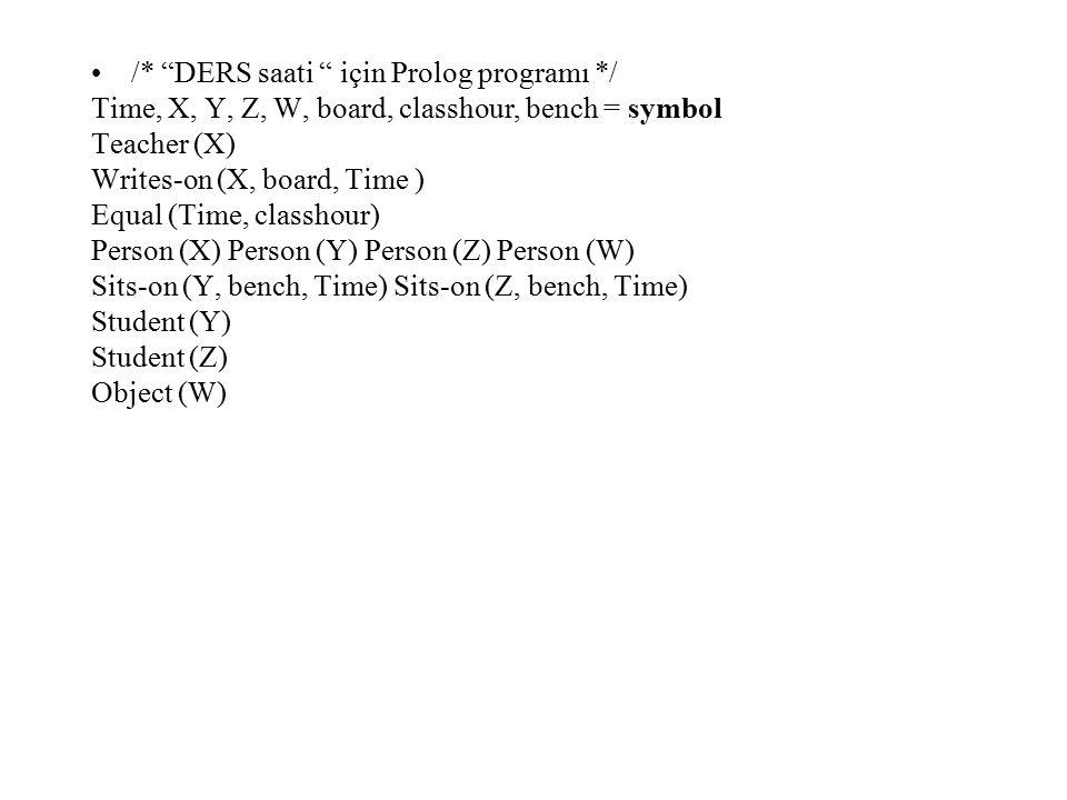 /* DERS saati için Prolog programı */ Time, X, Y, Z, W, board, classhour, bench = symbol Teacher (X) Writes-on (X, board, Time ) Equal (Time, classhour) Person (X) Person (Y) Person (Z) Person (W) Sits-on (Y, bench, Time) Sits-on (Z, bench, Time) Student (Y) Student (Z) Object (W)