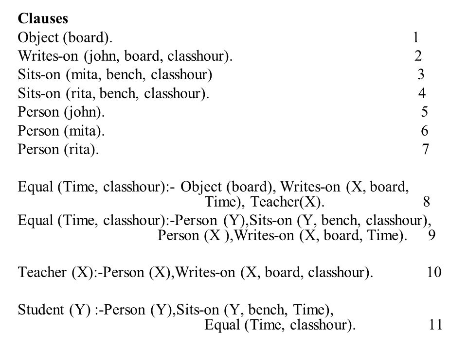 Clauses Object (board). 1 Writes-on (john, board, classhour). 2 Sits-on (mita, bench, classhour) 3 Sits-on (rita, bench, classhour). 4 Person (john).