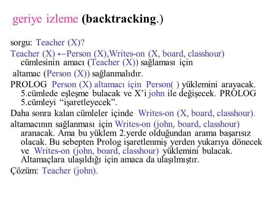 geriye izleme (backtracking.) sorgu: Teacher (X).
