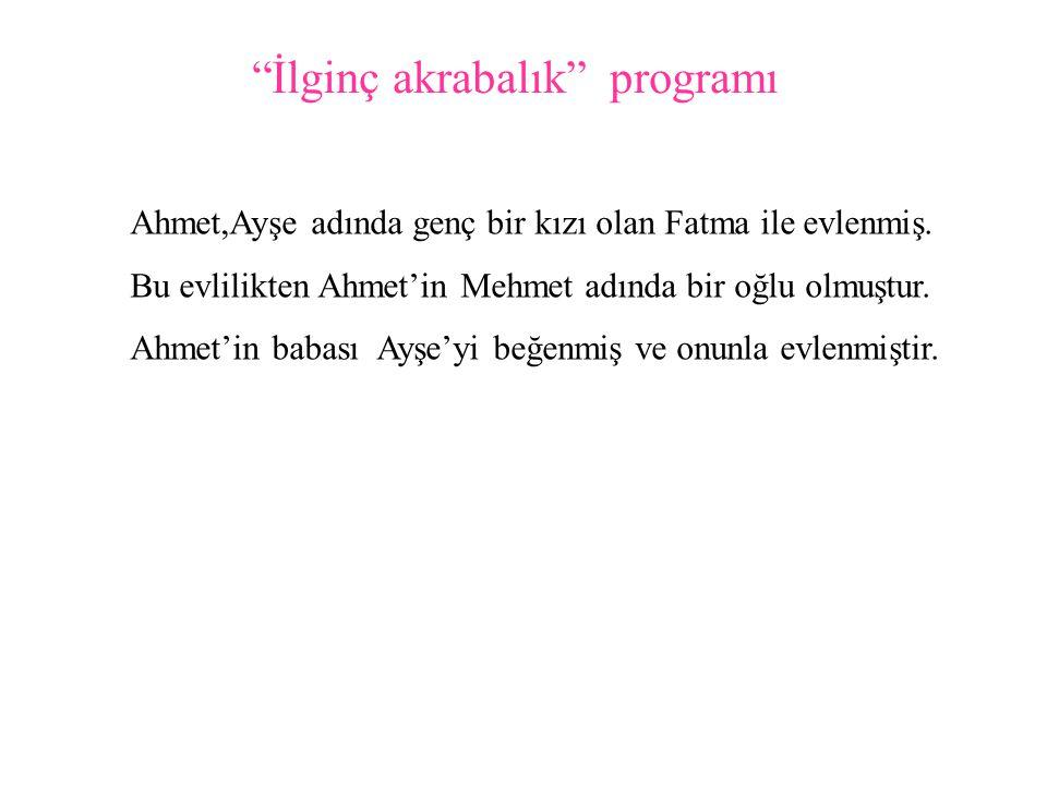 İlginç akrabalık programı Ahmet,Ayşe adında genç bir kızı olan Fatma ile evlenmiş.