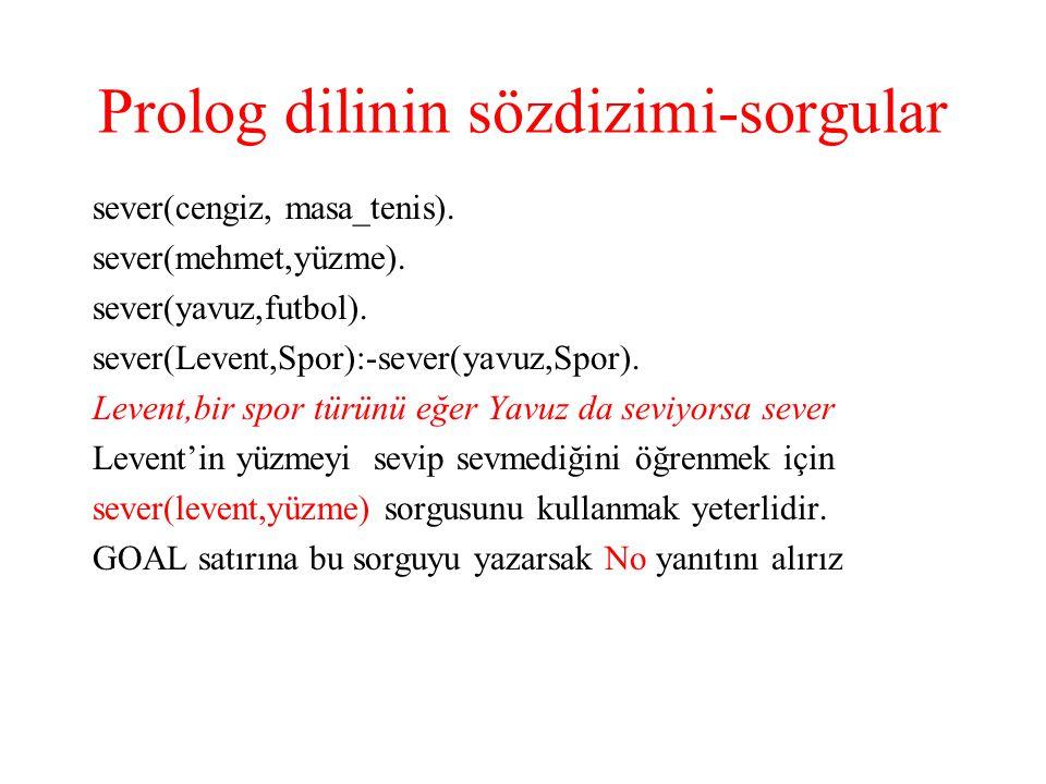 Prolog dilinin sözdizimi-sorgular sever(cengiz, masa_tenis).