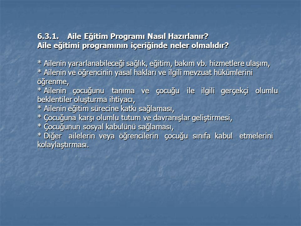 6.3.1.Aile Eğitim Programı Nasıl Hazırlanır. Aile eğitimi programının içeriğinde neler olmalıdır.