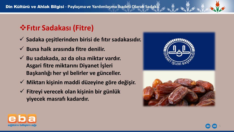 5  Fıtır Sadakası (Fitre) Sadaka çeşitlerinden birisi de fıtır sadakasıdır.