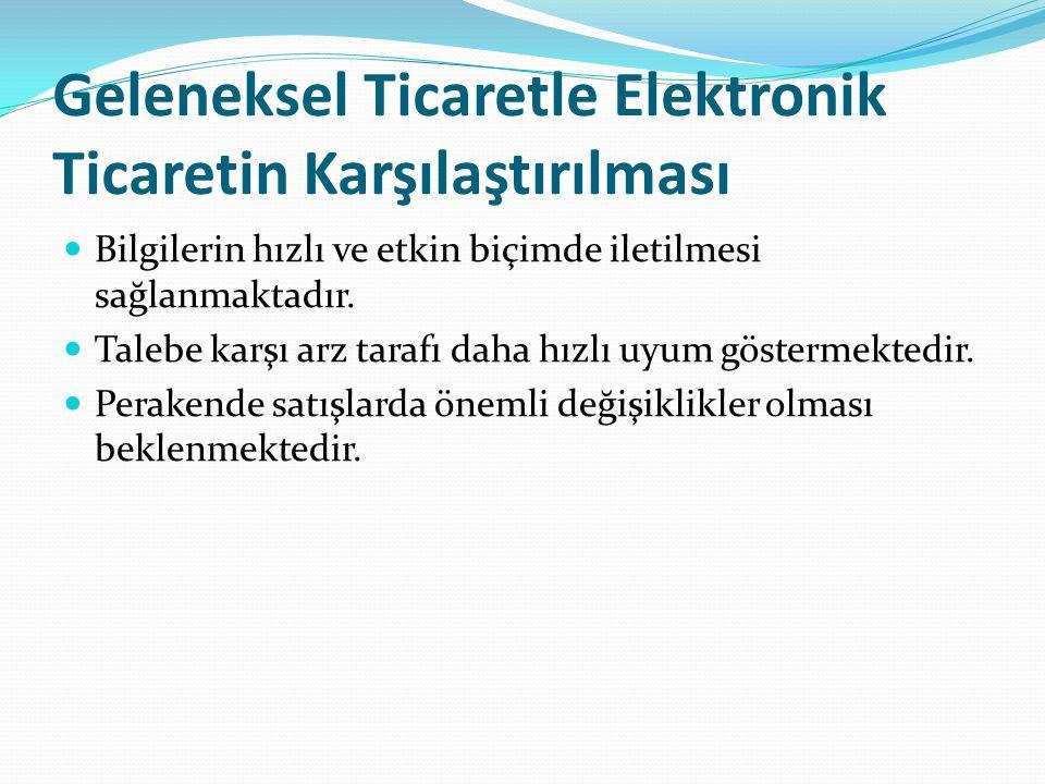Geleneksel Ticaretle Elektronik Ticaretin Karşılaştırılması Bilgilerin hızlı ve etkin biçimde iletilmesi sağlanmaktadır.