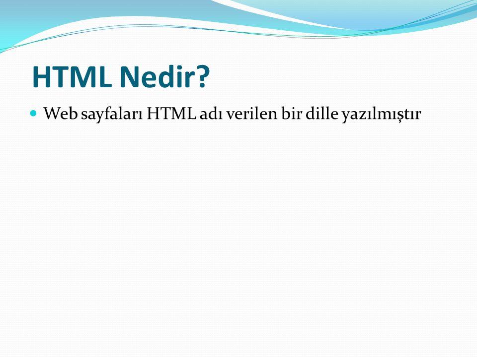 HTML Nedir? Web sayfaları HTML adı verilen bir dille yazılmıştır