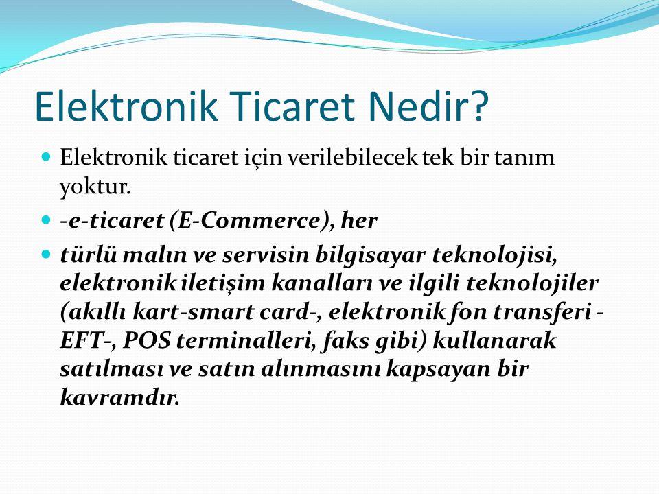 Elektronik Ticaret Nedir?(devam) e-ticaret, ödeme işleminin internet üzerinden yapıldığı alış-satışları içermektedir.