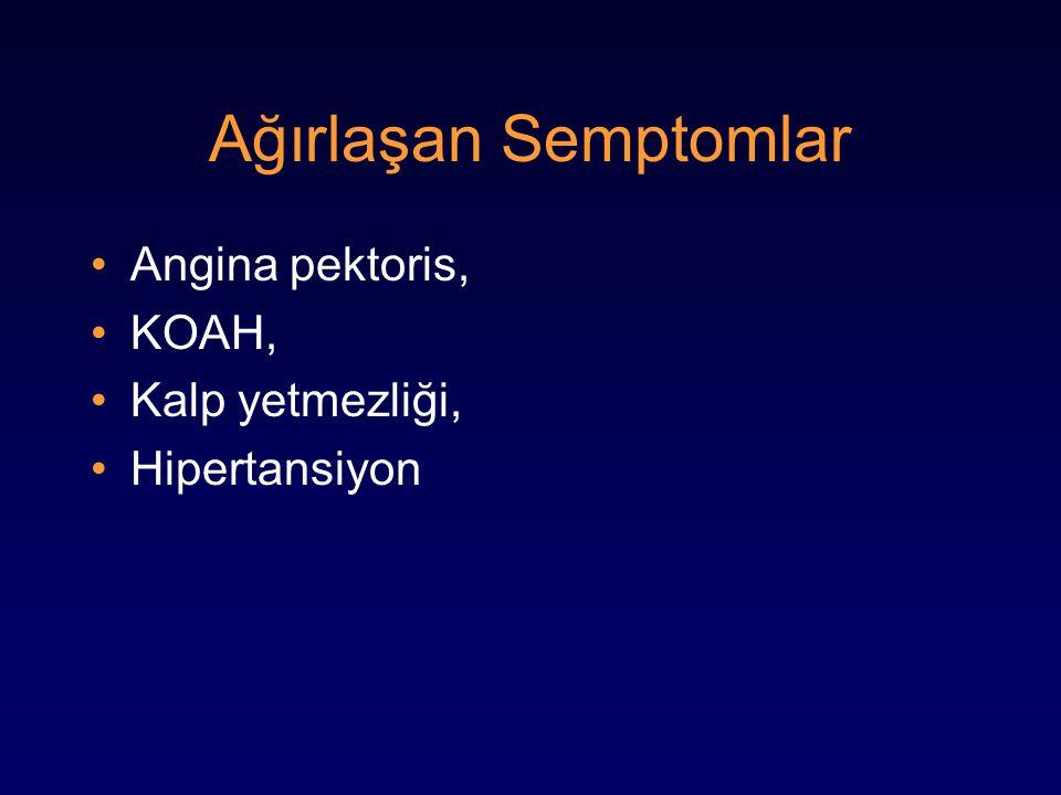 Ağırlaşan Semptomlar Angina pektoris, KOAH, Kalp yetmezliği, Hipertansiyon