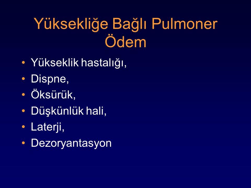 Yüksekliğe Bağlı Pulmoner Ödem Yükseklik hastalığı, Dispne, Öksürük, Düşkünlük hali, Laterji, Dezoryantasyon