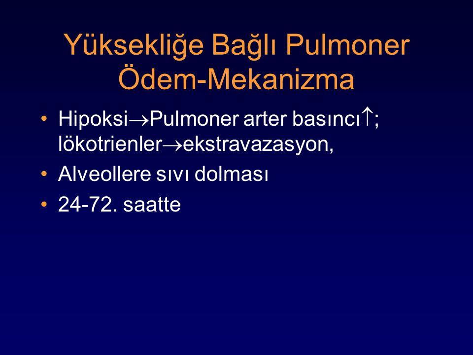 Yüksekliğe Bağlı Pulmoner Ödem-Mekanizma Hipoksi  Pulmoner arter basıncı  ; lökotrienler  ekstravazasyon, Alveollere sıvı dolması 24-72. saatte