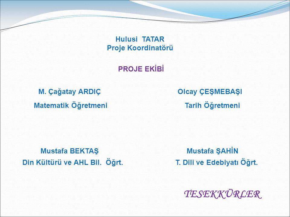 Hulusi TATAR Proje Koordinatörü PROJE EKİBİ Mustafa BEKTAŞ Din Kültürü ve AHL Bil.